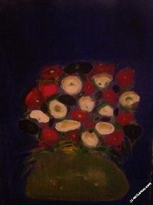 fleurs1-bouquet-rouge-blanc - Tableau par Gerard Berner